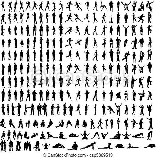 dettagliato, ballerini, yoga, molto, molti, affari, silhouette, includere, ecc. - csp5869513
