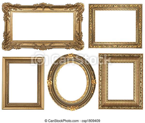 dettagliato, quadrato, oro, vendemmia, ovale, cornici, picure, vuoto - csp1809409