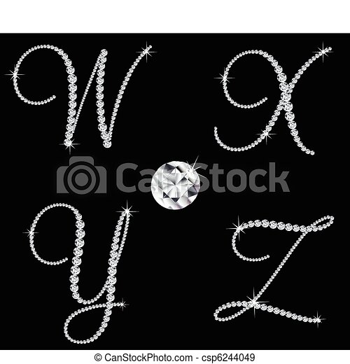 diamante, set, letters., vettore, 7, alfabetico, aggraziato - csp6244049