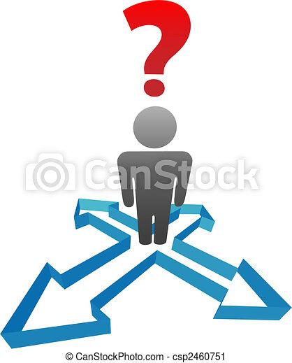 direzione, frecce, decisione, domanda, persona, indeciso - csp2460751