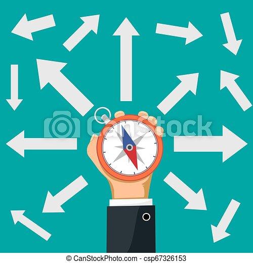 direzione, suo, mano., frecce, indicare, presa a terra, bussola, uomo affari - csp67326153