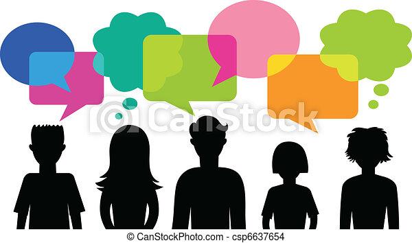 discorso, bolle, silhouette, giovani persone - csp6637654