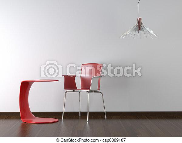 disegno, interno, tavola, sedia, bianco rosso - csp6009107