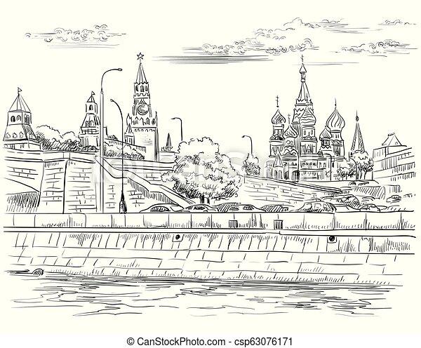 disegno, mano, vettore, moscow-4 - csp63076171