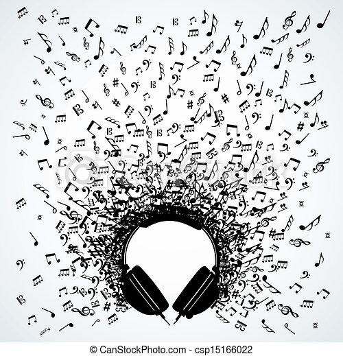 disegno, note, cuffie, musica, isolato - csp15166022