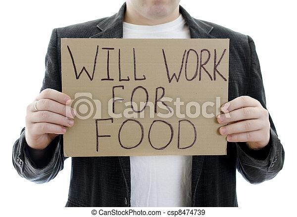 disoccupato, segno, volontà, isolato, cibo., lavoro, white. - csp8474739