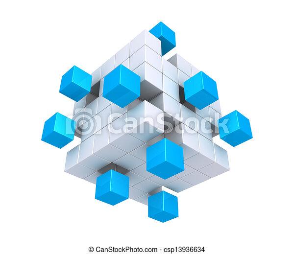 distaccato, cubi, quadrato, oggetto - csp13936634