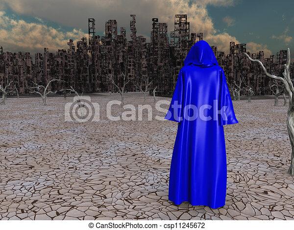 distrutto, viaggiatore, prima, città - csp11245672
