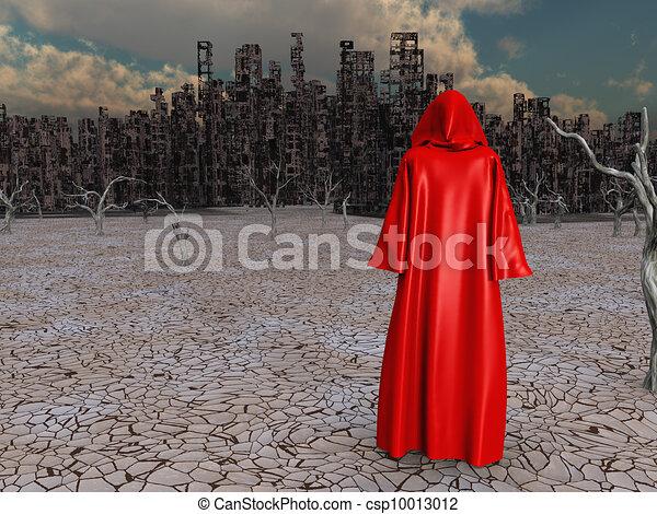 distrutto, viaggiatore, prima, città - csp10013012