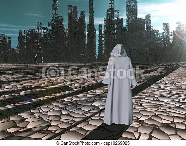 distrutto, viaggiatore, prima, città - csp10269025