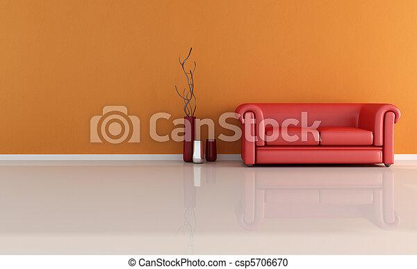 divano, rosso, classico - csp5706670
