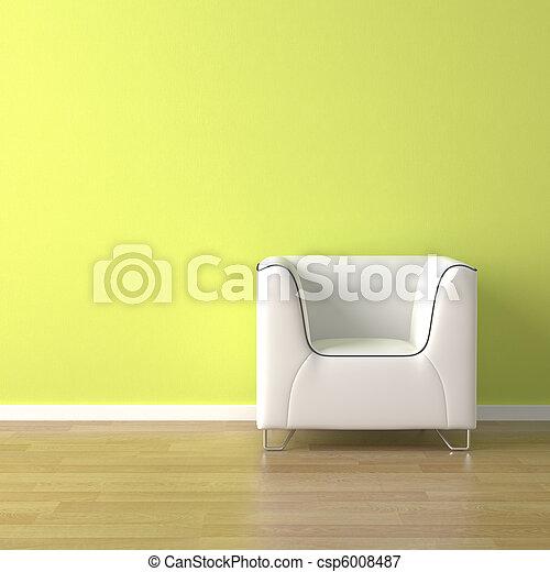 divano, verde, disegno, interno, bianco - csp6008487
