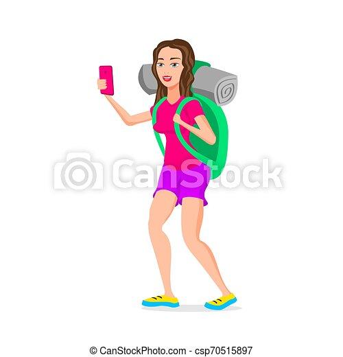 divertente, adolescente, turista, appartamento, character., isolato, illustrazione, cartone animato, vettore, hipster, fondo, bianco, ragazza, design. - csp70515897