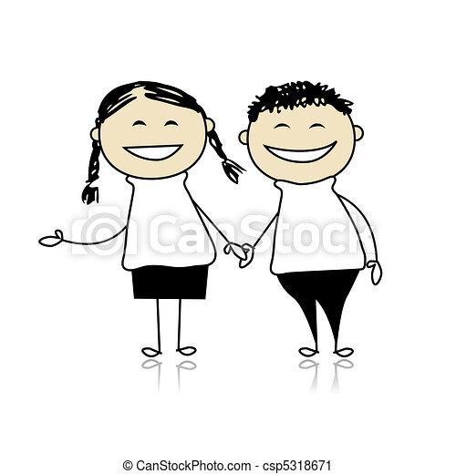 divertente, ragazzo, coppia, -, illustrazione, disegno, risata, insieme, ragazza, tuo - csp5318671