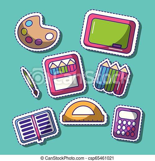 divertente, scuola, set, pezze, carino, elementi - csp65461021