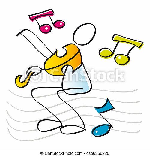 divertente, violino esegue, violinista - csp6356220