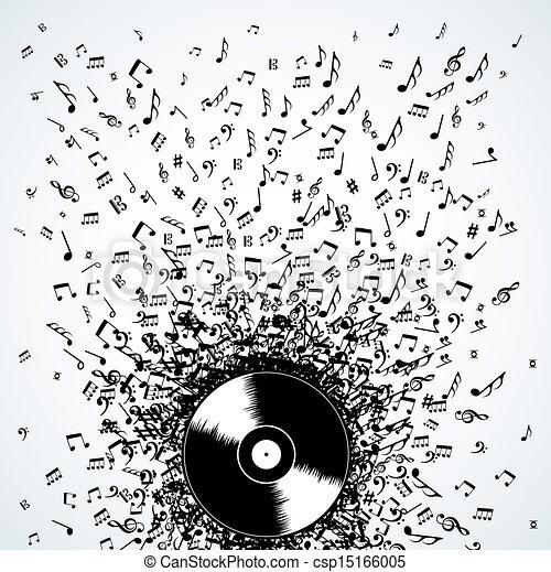 dj, note, disco, schizzo, musica, vinile - csp15166005