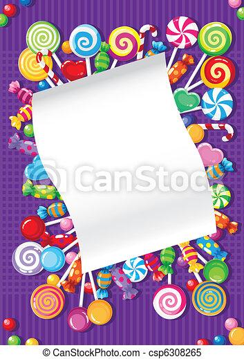 dolci, caramella, scheda - csp6308265