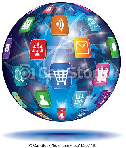 domanda, concept., globe., icons., internet - csp16367718