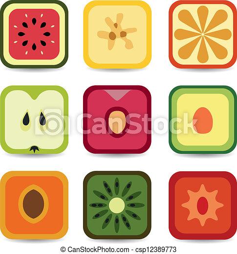 domanda, frutta, icone - csp12389773