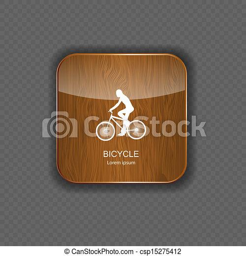 domanda, legno, bicicletta, icone - csp15275412
