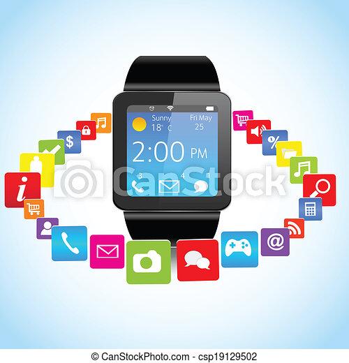 domanda, smartwatch, icone - csp19129502