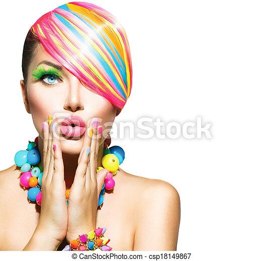 donna, bellezza, colorito, unghia, trucco, accessori, capelli - csp18149867