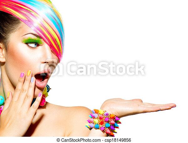 donna, colorito, capelli, bellezza, trucco, unghia, accessori - csp18149856