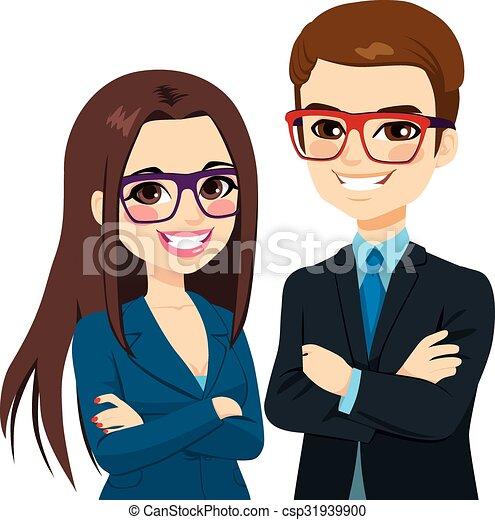 donna d'affari, bracci attraversati, uomo affari - csp31939900