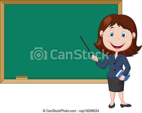 donna eretta, cartone animato, nex, insegnante - csp19296634