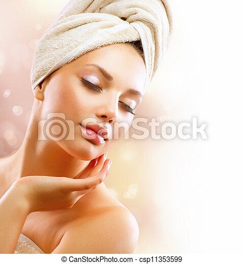 donna, girl., toccante, giovane, faccia, terme, bagno, lei, bello, secondo - csp11353599