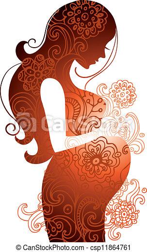 donna, incinta, silhouette - csp11864761