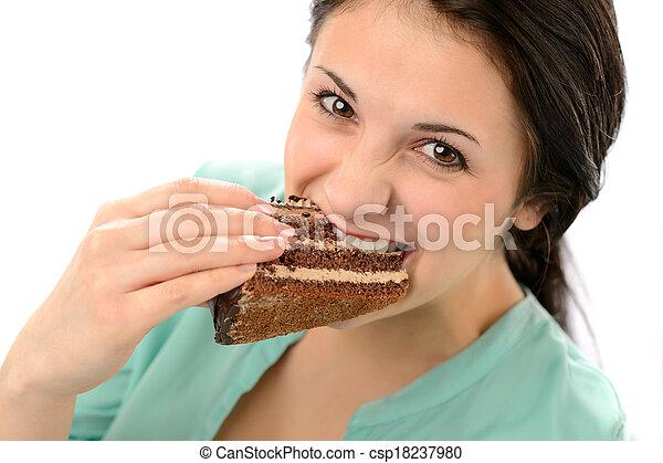 donna mangia, giovane, avido, saporito, torta - csp18237980