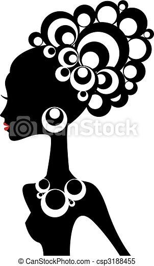 donna nera, vettore - csp3188455