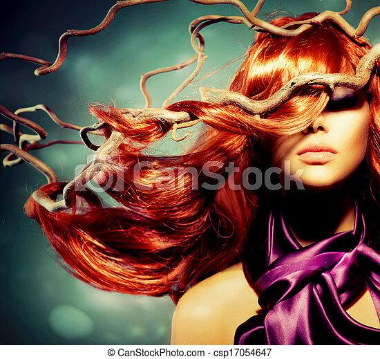 donna, riccio, capelli lunghi, moda, ritratto, modello, rosso - csp17054647