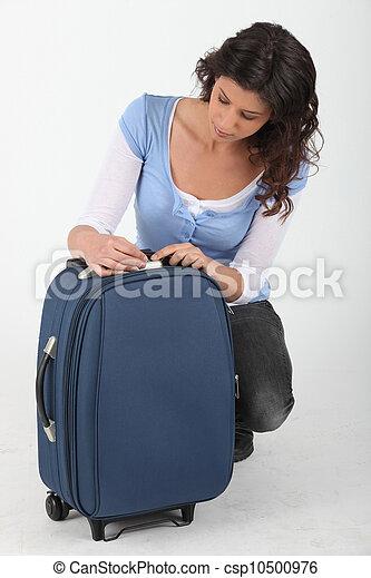 donna, sbloccando, valigia - csp10500976