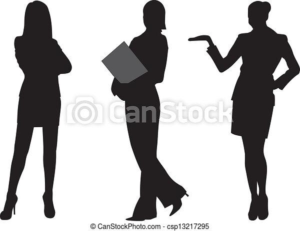 donna, vettore, silhouette, affari - csp13217295