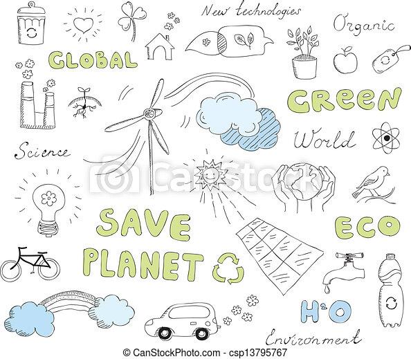 doodles, set, vettore, ecologia, elementi - csp13795767