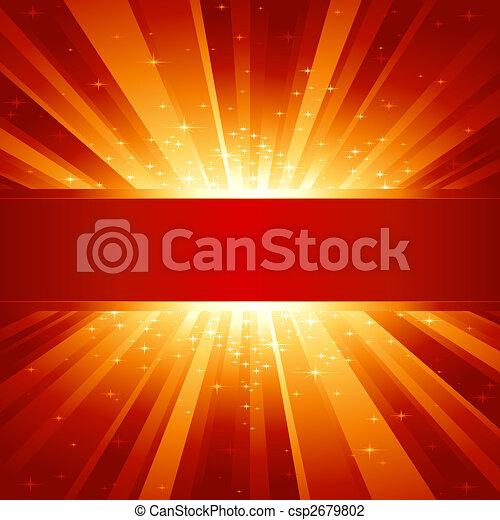 dorato, copyspace, scoppio, luce, stelle, rosso - csp2679802