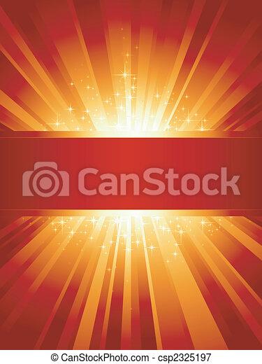 dorato, copyspace, verticale, scoppio, luce, stelle, rosso - csp2325197