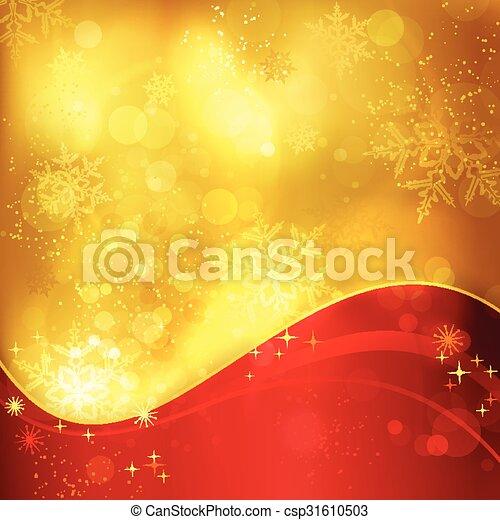 dorato, fiocchi neve, luce, effetti, fondo, natale, rosso - csp31610503