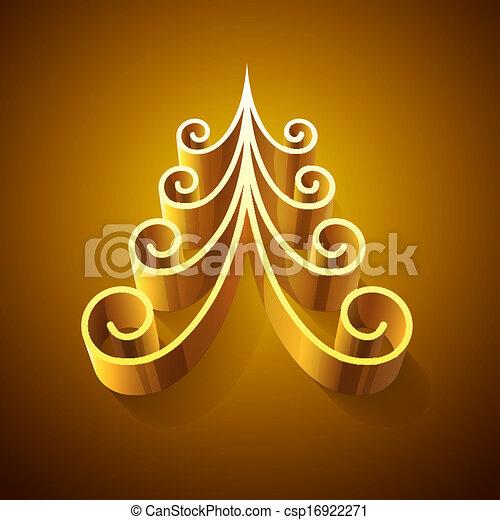 dorato, lucente, albero, natale, 3d - csp16922271