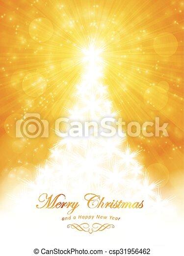 dorato, scoppio, luce, albero, allegro, natale bianco, scheda - csp31956462