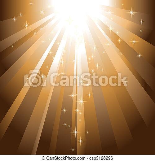 dorato, scoppio, luce, sfavillante, discendere, stelle - csp3128296