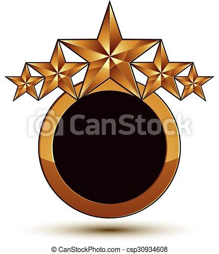 dorato, vettore, emblema, classico, chiaro, isolato, eps, fondo., aristocratico, stelle, 8., bianco - csp30934608
