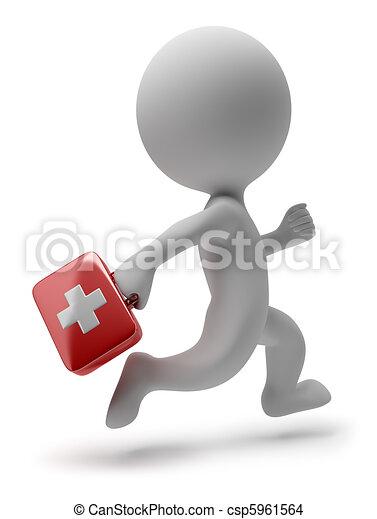 dottore, persone, -, correndo, piccolo, 3d - csp5961564