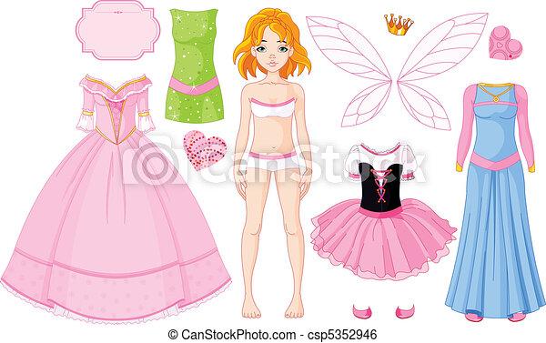 dresse, ragazza, differente, principessa - csp5352946