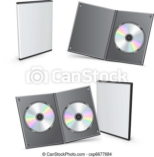 dvd, scatole, vettore, 3d - csp6677684