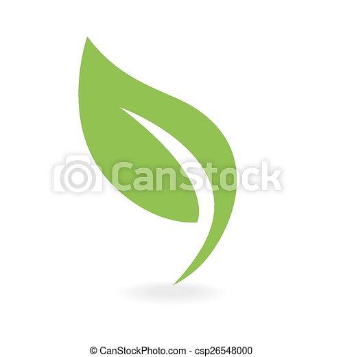 eco, icona, foglia verde - csp26548000