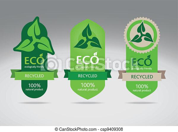 eco, riciclare, etichette - csp9409308